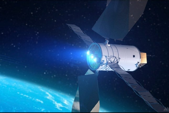An illustration depicts a spacecraft propelled by solar electric thrusters. Image courtesy of NASA