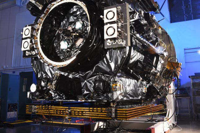 Northrop Grumman Corp.'s MEV-2, shown being prepared for launch, will act as a new engine and fuel tank to keep a satellite owned by Intelsat functioning in orbit for about five more years. Photo courtesy of Northrop Grumman