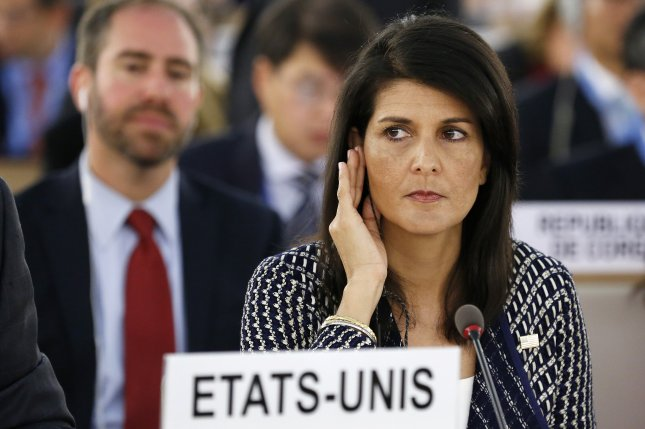 U.S. Ambassador to the United Nations Nikki Haley listens to a translation prior to delivering a speech Tuesday at the opening of the 35th session of the Human Rights Council, at the European headquarters of the United Nations in Geneva, Switzerland. Photo by Magali Girardin/EPA