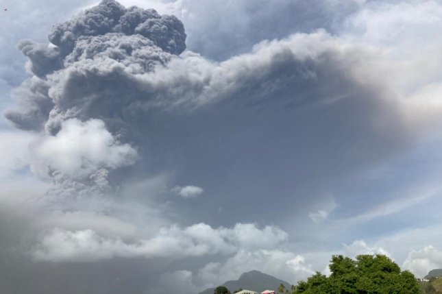 Smoke and ash are seen during an eruption on Friday from the La Soufriere volcano on the island of St. Vincent in Saint Vincent and the Grenadines. Photo by UWI Seismic Research/EPA-EFE