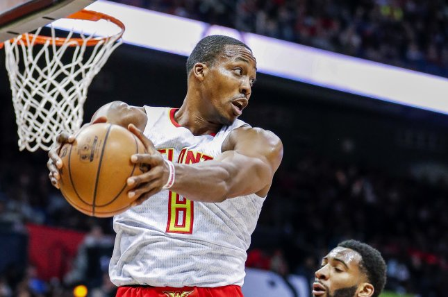 Former Atlanta Hawks center Dwight Howard (8) reached a contract buyout with the Memphis Grizzlies and will sign a one-year deal with the Los Angeles Lakers. File Photo by Erik S. Lesser/EPA