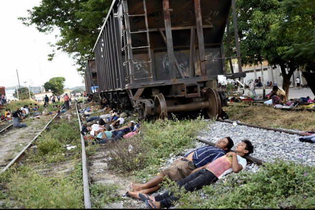 Central American migrants rest in the municipality of Arriaga in Chiapas state, Mexico, on Friday. Photo by Jacob Garcia/EPA-EFE