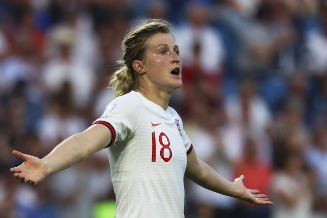 England's Ellen White made up for an early error by scoring the second goal of the first half in a quarterfinal match against Norway at the 2019 FIFA Women's World Cup on Thursday in Le Havre, France. Photo by Srdjan Suki/EPA-EFE