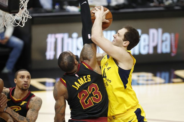 Former Indiana Pacers and current Utah Jazz forward Bojan Bogdanovic (R) injured the wrist in late 2019 and played through the discomfort. File Photo by David Maxwell/EPA-EFE