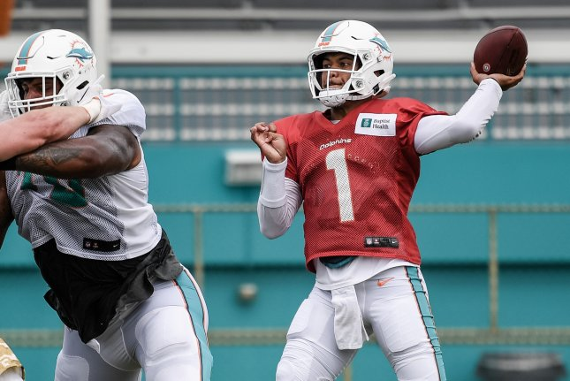 Miami Dolphins quarterback Tua Tagovailoa (shown throwing at practice) will have a week off to prepare for his first NFL start Nov. 1 in Miami Gardens, Fla. Photo courtesy of Peter McMahon/Miami Dolphins