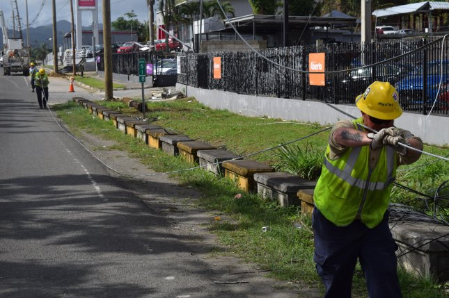 FEMA said it was handing over power line restoration in Puerto Rico to state utility PREPA and that the Army Corps of Engineers would end work there Friday. File Photo by Gerald Rogers/U.S. Army Corps of Engineers