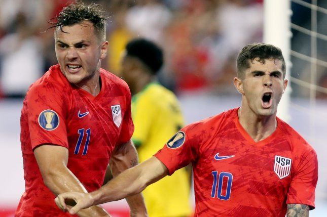 Jordan Morris (L) scored two first-half goals in the United States Men's National Team's win against Cuba on Tuesday in George Town, Cayman Islands. Photo by Alan Poizner/EPA-EFE