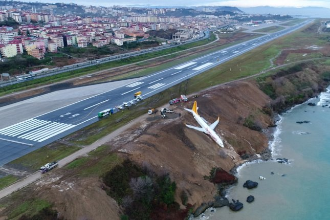 Turkey: Passenger plane skids off runway, gets stuck on cliff edge