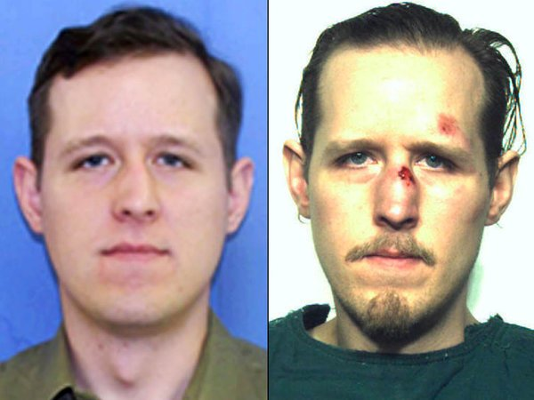 Eric Matthew Frein in the photo from his wanted poster, left, and his police mugshot. Frein appeared at a preliminary hearing Monday and was ordered to stand trial for the murder of Pennsylvania State Police Cpl. Bryon Dickson II. Photo by FBI/Pennsylvania State Police/UPI