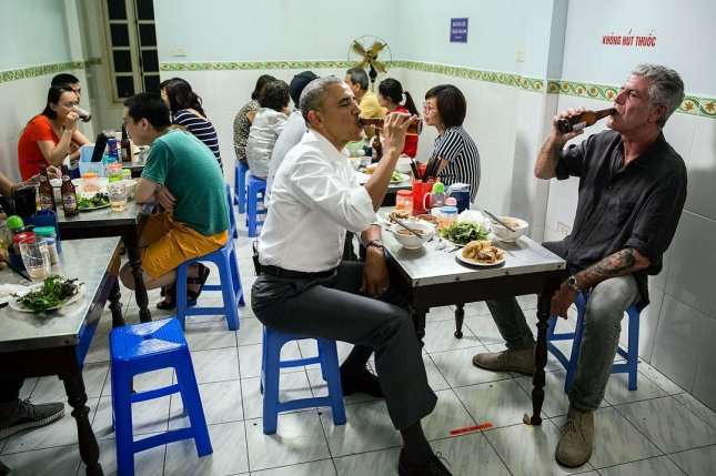 U.S. President Barack Obama enjoyed a beer and dinner with Anthony Bourdain in Hanoi on May 23, 2016. CNN announced Bourdain died Friday at the age of 61. File Photo by Pete Souza/White House/Instagram