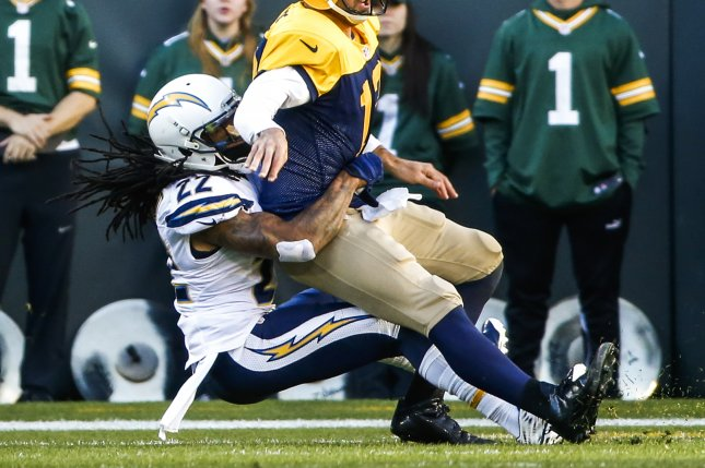 Former Los Angeles Chargers cornerback Jason Verrett (L) signed a one-year deal with the San Francisco 49ers on Thursday. The cornerback has struggled to stay healthy in his career. File Photo by Tannen Maury/EPA