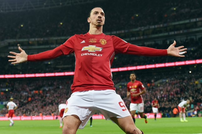 Manchester United's Zlatan Ibrahimovic celebrates after scoring against Southampton during the English Football League cup final soccer match at Wembley Stadium in London on February 26, 2017. EPA/ANDY RAIN