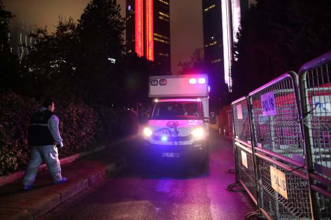 Turkish police arrive at the Saudi Consulate in Istanbul Oct. 17. during an investigation into the disappearance of journalist Jamal Khashoggi. File Photo by Erdem Sahin/EPA-EFE