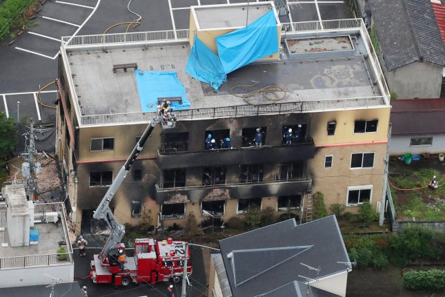 Firefighters search for missing persons following a major fire at the Kyoto Animation building in Kyoto, Japan, on July 18, 2019. File Photo by JIJI Press/EPA/EFE