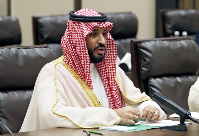 Prince Mohammed bin Salman of Saudi Arabia blamed Iran Tuesday for the intercepted ballistic missile launched by Houthis in Yemen. File Photo by Yuri Kochetkov/EPA