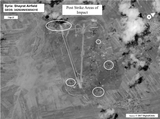 Battle damage assessment image shows Shayrat Airfield, Syria, following U.S. Tomahawk Land Attack Missile strikes on April 7, 2017. The United States fired Tomahawk missiles into Syria in retaliation for the regime of Bashar Assad using nerve agents to attack his own people. Photo courtesy Department of Defense