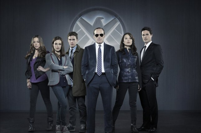 The cast of Marvel's Agents of S.H.I.E.L.D. in a promotional photo from ABC. From left to right, Chloe Bennet as Skye, Elizabeth Henstridge as Jemma Simmons, Iain De Caestecker as Leo Fitz, Clark Gregg as Phil Coulson, Ming-Na Wen as Melinda May and Brett Dalton as Grant Ward. File Photo by ABC Studios/Marvel.