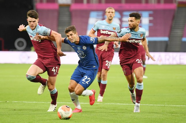 Christian Pulisic (22) and Chelsea are now in danger of missing the 2020-2021 Champions League after they lost to West Ham Wednesday in London. Pool Photo by Michael Regan/EPA-EFE