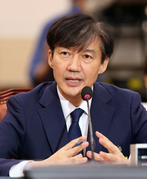 Justice Minister nominee Cho Kuk answers a question from lawmakers Friday during his parliamentary confirmation hearing in Seoul. Photo by Yonhap