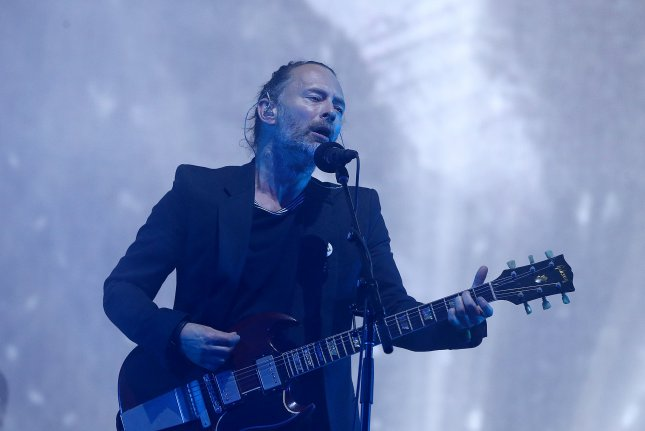 Thom Yorke and Radiohead shared unreleased tracks from its OK Computer sessions after an unknown person hacked Yorke's MiniDisc archive. File Photo by Nigel Roddis/UPI