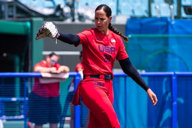 Ace pitcher Cat Osterman allowed two hits and two scoreless innings in Team USA's 2-0 loss to Japan in the softball gold medal game at the 2020 Summer Games on Tuesday in Yokohama, Japan. Photo by Jade Hewitt, courtesy of USA Softball