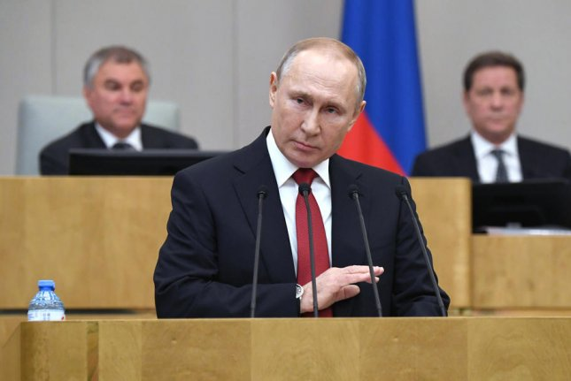 Russian President Vladimir Putin speaks to lawmakers in Moscow, Russia, on March 10. Thursday's vote was originally scheduled for April 22 but was postponed by the coronavirus pandemic. File Photo by Yuri Kochetkov/EPA-EFE