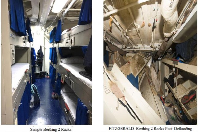These before-and-after photos show the berthing station where sailors became trapped aboard the USS Fitzgerald after it crashed into a container ship off the coast of Japan on June 17, 2017. Seven sailors died. Photos courtesy U.S. Navy