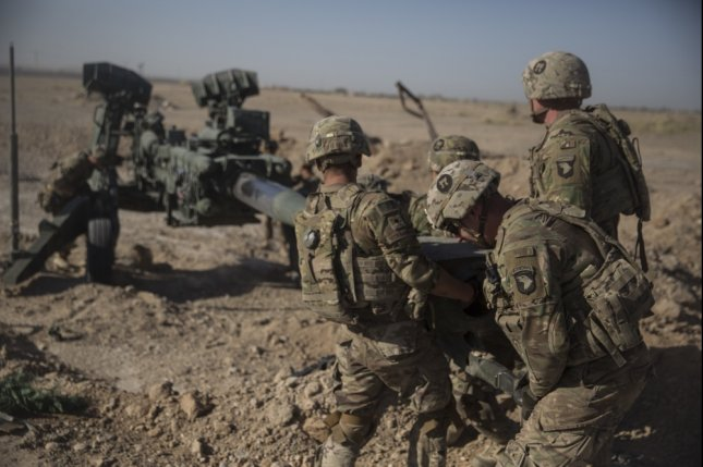 U.S. Army personnel maneuver an M-777 howitzer at Bost Airfield, Afghanistan on June 10, 2017. File Photo by Sgt. Justin T. Updegraff/U.S. Marine Corps /UPI