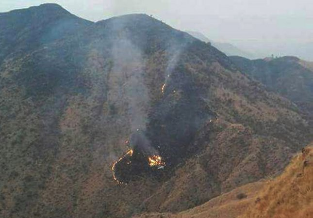 Flames rise from the wreckage of a Pakistan International Airlines (PIA) ATR 42 turboprop passenger plane after it crashed near Abbottabad,Pakistan on Wednesday. The PIA flight PK-661 was on its way from Chitral to Islamabad. Photo by European Pressphoto Agency