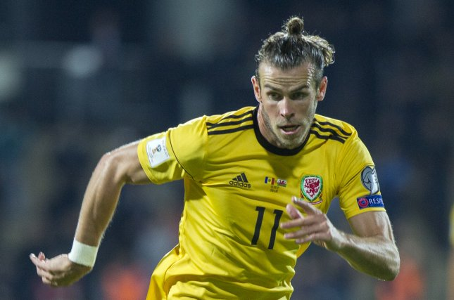 Wales' Gareth Bale scored three times against China Thursday to become his country's all-time leading scorer. Photo by Dumitru Doru/EPA-EFE