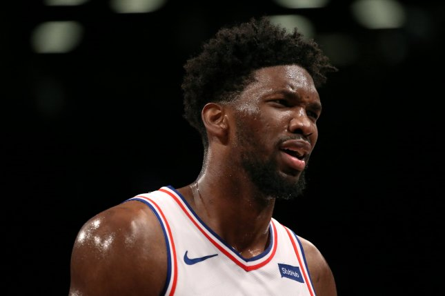 Philadelphia 76ers center Joel Embiid had a game-high 36 points, 13 rebounds, five assists, three steals and a block in a win against the Atlanta Hawks Monday in Atlanta. Photo by Peter Foley/EPA-EFE