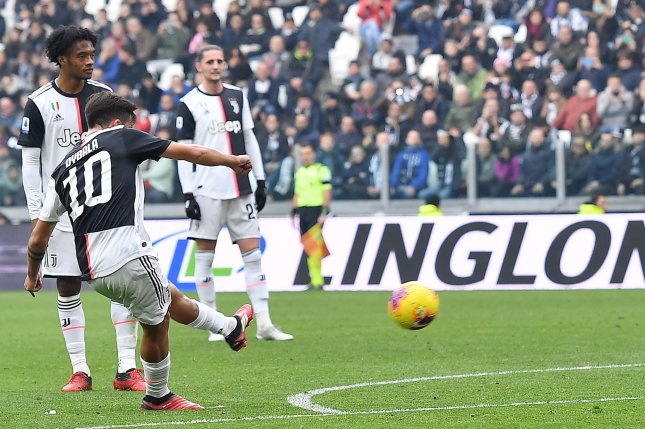 Paulo Dybala has now scored 10 times in Serie A on direct free kicks during his career, after netting another attempt Sunday in Turin, Italy. Photo by Alessandro Di Marco/EPA-EFE