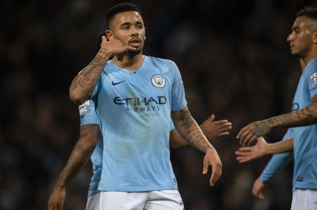 Manchester City's Gabriel Jesus celebrates scoring during the English Premier League soccer match between Manchester City and Wolverhampton Wanderers on Monday at the Etihad Stadium in Manchester, Britain. Photo by Peter Powell/EPA-EFE