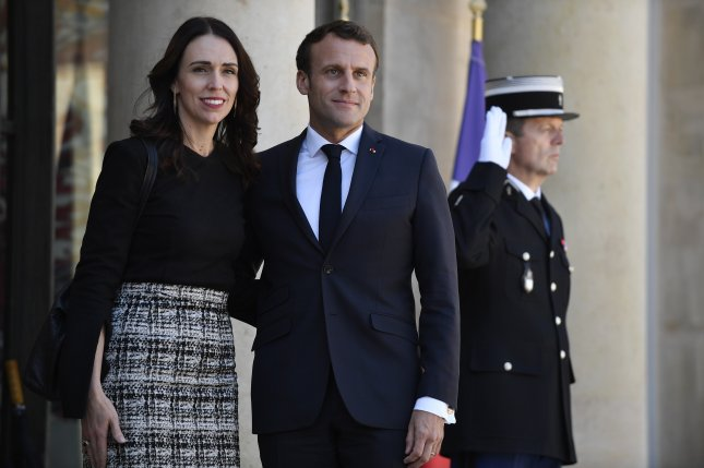 New Zealand Prime Minister Jacinda Ardern traveled to Paris on Monday to meet with French President Emmanuel Macron about a global effort to combat extremism online. Photo by Julien De Rosa/EPA-EFE