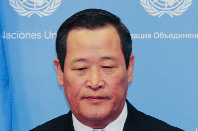 North Korean Ambassador to the United Nations Kim Song, shown here at a May press conference in New York, said Saturday that denuclearization is off the table in talks with the U.S. Photo by Yonhap South Korea Out/EPA-EFE