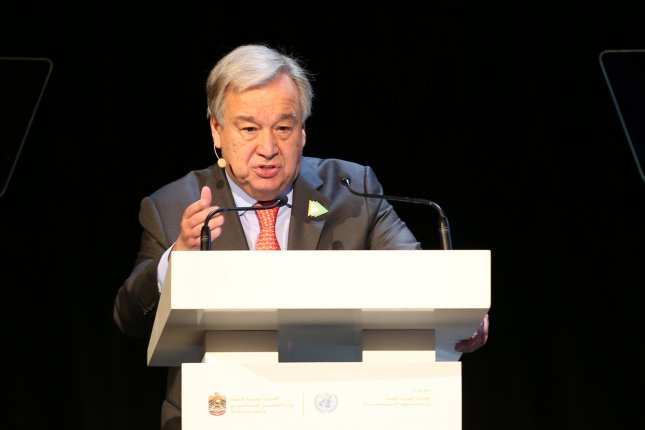 United Nations Secretary-General Antonio Guterres will attend the U.N. Climate Action Summit Monday in New York City. Photo by Ali Haider/EPA-EFE