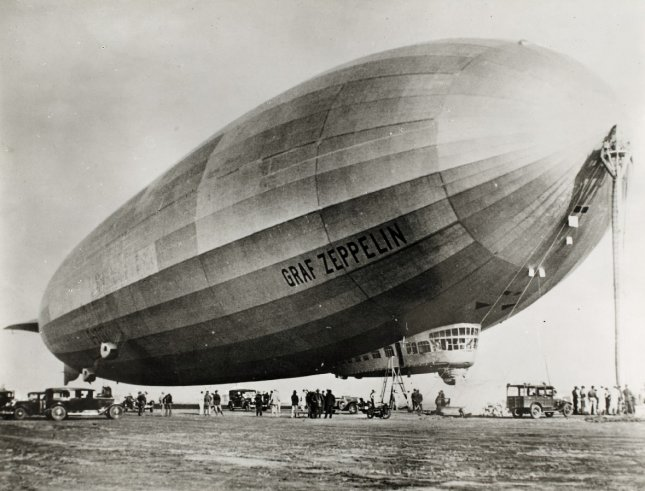 Graf Zeppelin upon arrival at Mines Field (Los Angeles International Airport) on August 26, 1929, during it's Round-the-World flight. File Photo courtesy San Diego Air & Space Museum