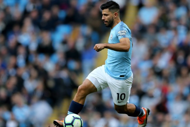 Manchester City's Sergio Aguero in action during an English Premier League soccer match between Manchester City and Brighton Hove Albion on Saturday at the Etihad Stadium in Manchester, Britain. Photo by Nigel Roddis/EPA-EFE