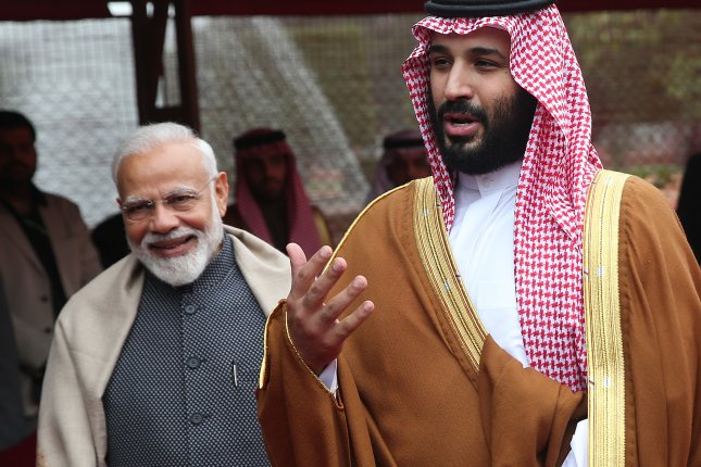 Crown Prince Mohammed Bin Salman meets with Indian Prime Minister Narendra Modi during a ceremonial reception at the president's house in New Delhi. Photo by Harish Tyagi/EPA-EFE