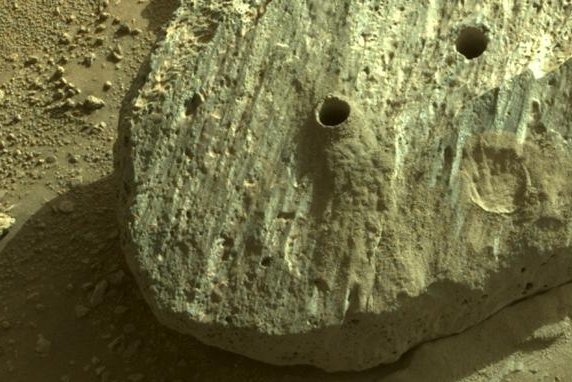 The Mars rover Perseverance drilled the first two successful samples from a Mars rock NASA calls Rochette on Monday and Wednesday. Photo courtesy of NASA