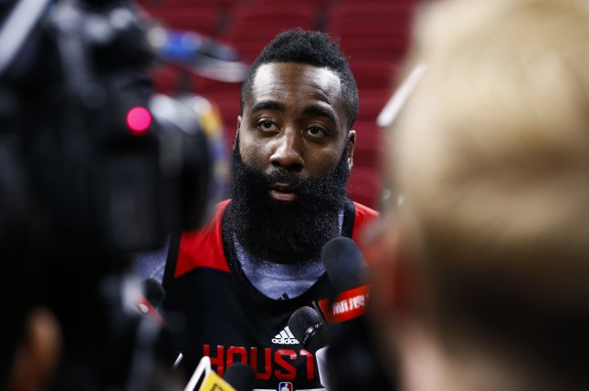 James Harden turned a torrid stretch in the third quarter into his NBA-leading 49th double-double as the Houston Rockets topped the Memphis Grizzlies 123-108 on Saturday night at Toyota Center to split the season series. File Photo by Rolex DeLa Pena/EPA
