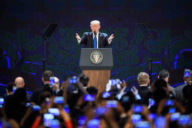 U.S. President Donald Trump speaks at the APEC summit in Danang, Vietnam, on November 10, 2017. Chile, the chosen host for this year's event, canceled the plans Wednesday. File Photo by Anthony Wallace/EPA-EFE