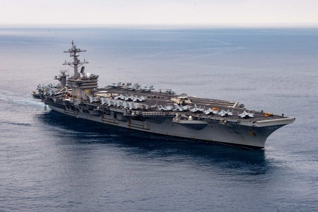 The Nimitz-class aircraft carrier USS Carl Vinson, pictured in the Pacific Ocean in July, left San Diego for deployment Monday, carrying F-35C aircraft for the first time. Photo by Mass Communication Specialist Seaman Isaiah Williams/U.S. Navy