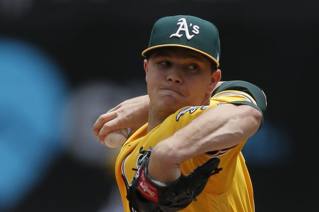 Oakland Athletics starting pitcher Sonny Gray winds up for a pitch against the Miami Marlins during the first inning of their MLB game on May 24 at the Oakland Coliseum in Oakland, Calif. Photo by John G. Mabanglo/EPA