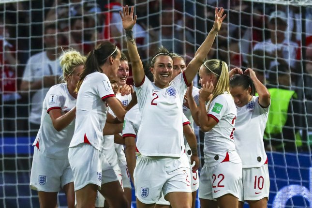 Lucy Bronze and England await the winner of the USA and France matchup in the 2019 FIFA Women's World Cup semifinals, set to take place Tuesday in Lyon. The winner will play in the final Sunday, July 7 in Lyon. Photo by Srdjan Suki/EPA-EFE