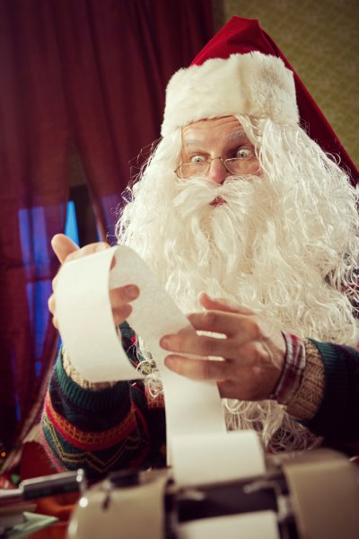Santa Claus is shocked by the price of the gifts from The 12 Days of Christmas as calculated by PNC Wealth Management. Photo by Stokkete/Shutterstock.com