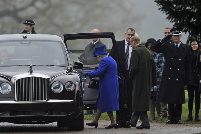 Queen Elizabeth and Prince Philip leave the St. Mary Magdalene Church in Norfolkafter after attending services on Sunday, January 8, 2017. The queen missed Christmas Eve and New Year services because of a cold. Photo by Gerry Penny/European Pressphoto Agency