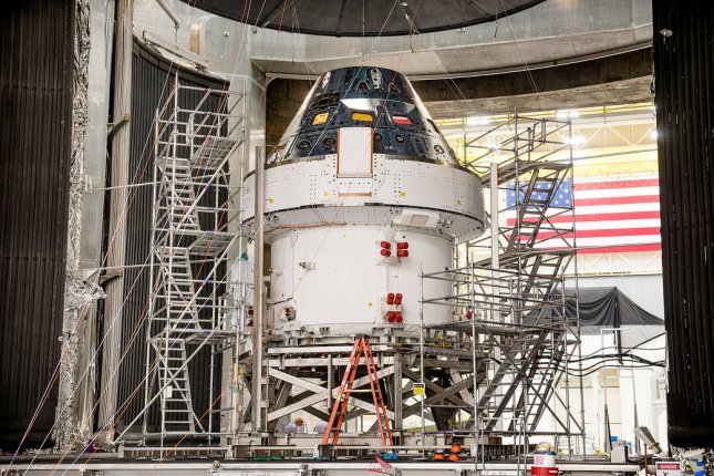 NASA's Orion spacecraft, part of the agency's Artemis lunar landing mission, is shown in March during a testing campaign at the agency's Plum Brook Station in Sandusky, Ohio. Photo courtesy NASA