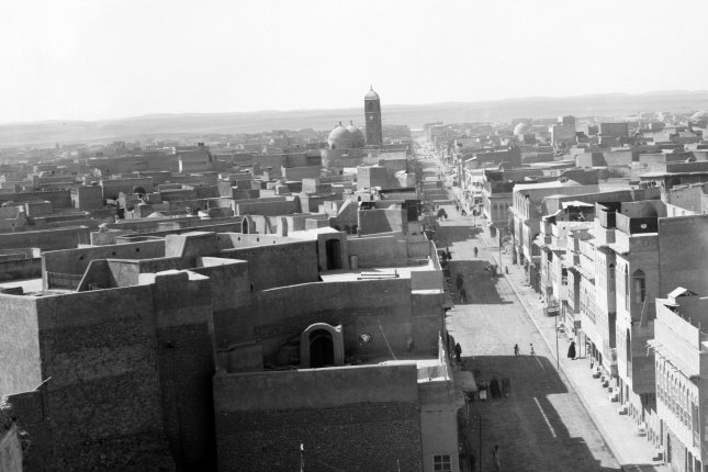 View looking out over the Iraqi city of Mosul ca. 1932. The clock tower and domes of the Dominican mission church can be seen at distance in the center of the photograph. The church, commonly known as the Clock Church, was destroyed on Monday by the Islamic State. File Photo by Library of Congress