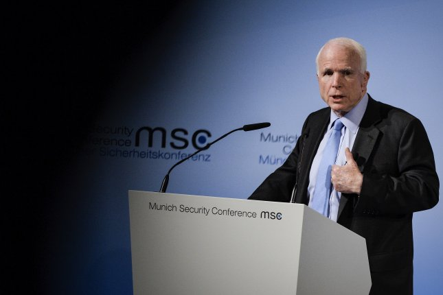 Sen. John McCain, R-Ariz., speaks during the 53rd Munich Security Conference in Munich, Germany, on Friday. At the annual meeting, politicians and various experts and guests from around the world discuss issues surrounding global security. Photo by Philipp Guelland/European Pressphoto Agency